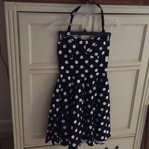 Ixia Navy Polka Dot Halter Dress